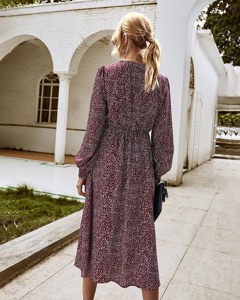 women's autumn/winter 2020 new long-sleeved elegant floral dress women NSKA220