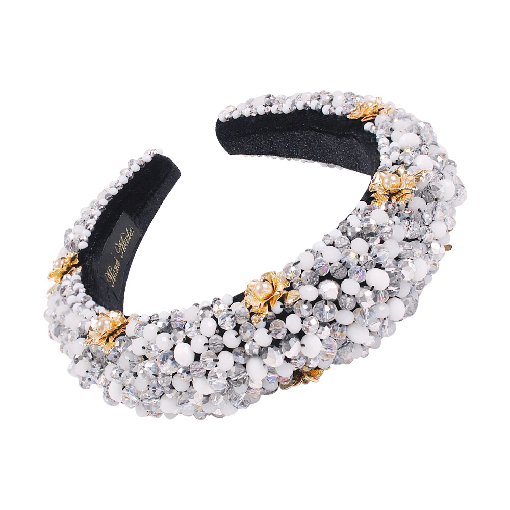 Palace gorgeous light luxury headband fashion crystal beaded fabric headband hair accessories wholesale NHMD200443