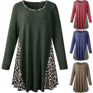 Cross-border new women's eBay Amazon round neck leopard print stitching long-sleeved casual loose long T-shirt
