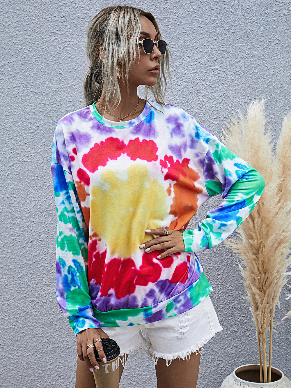 women's digital printing round neck long-sleeved tie-dye sweater  NSDF499