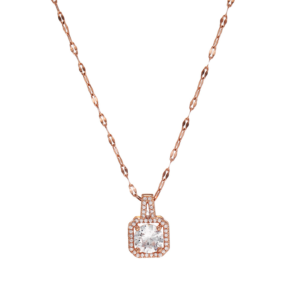 New Fashion Wild Vintage Diamond Geometric Necklace Women's Zircon Stainless Steel Pendant NHJJ206758