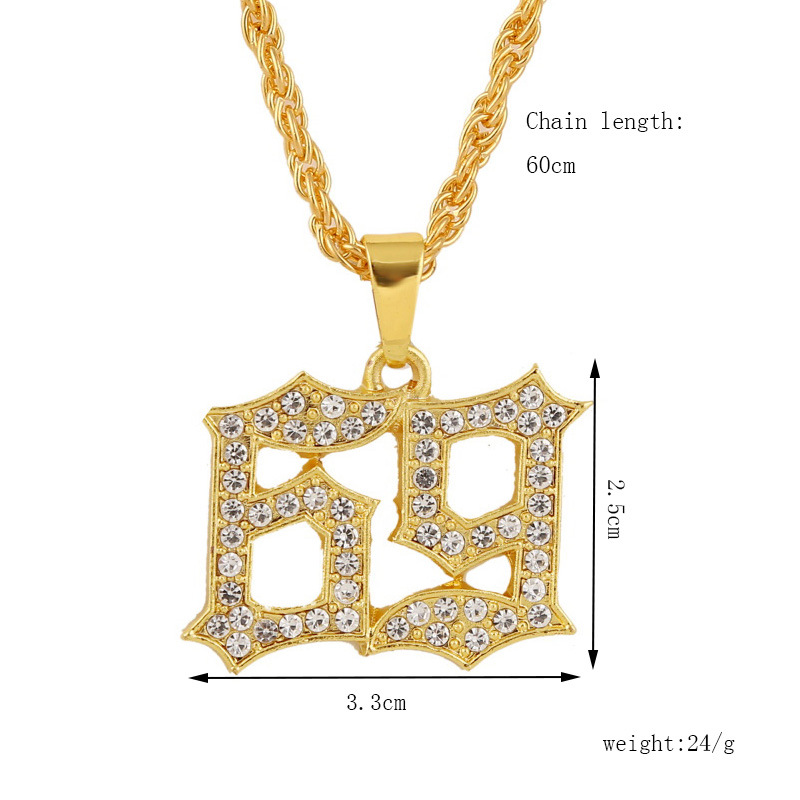 digital 69 hiphop mens necklace creative trend hiphop exaggerated pendant jewelry wholesale nihaojewelry NHLA226748
