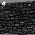 天然黑碧玺原石打孔散珠不打磨随形圆柱串珠 DIY饰品配饰材料批发