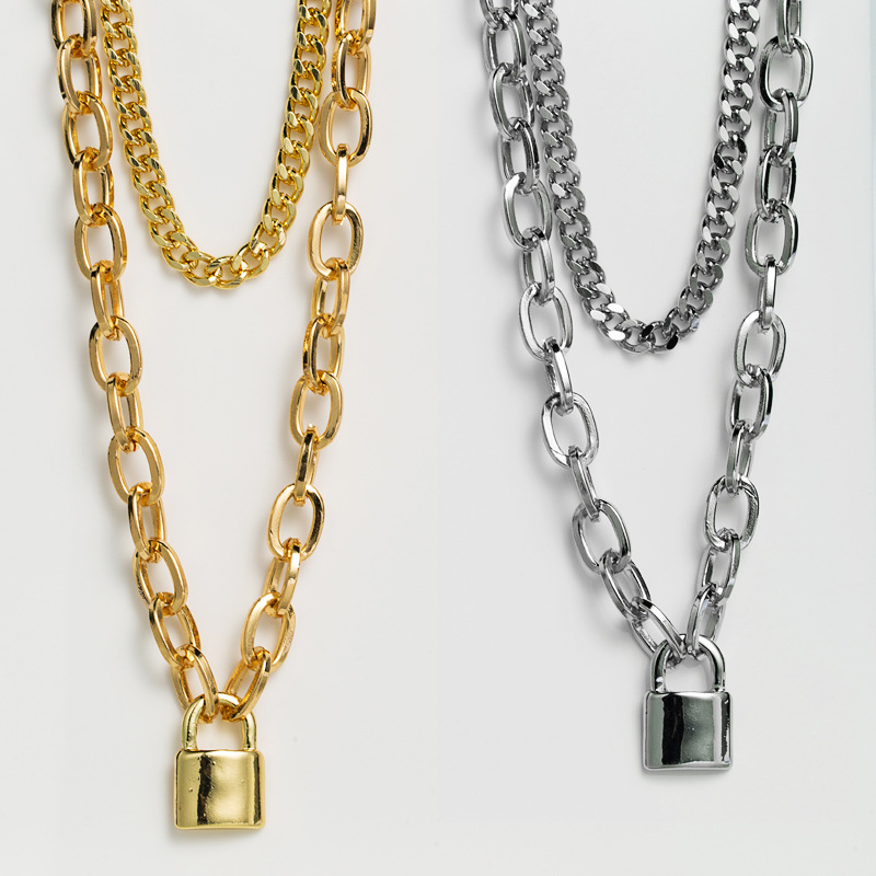 hip-hop love lock creative 2-piece pendant necklace exaggerated double-layer simple thick chain short necklace wholesale nihaojewelry NHLN229317