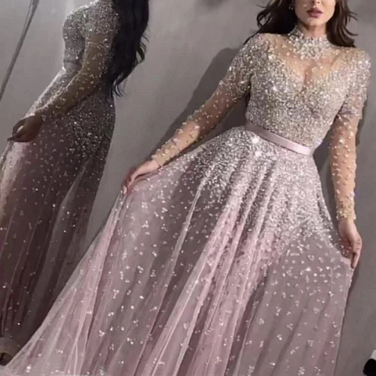 2020 new cross border foreign trade women's independent station eBay sexy hot stamping long sleeve prom dress new style