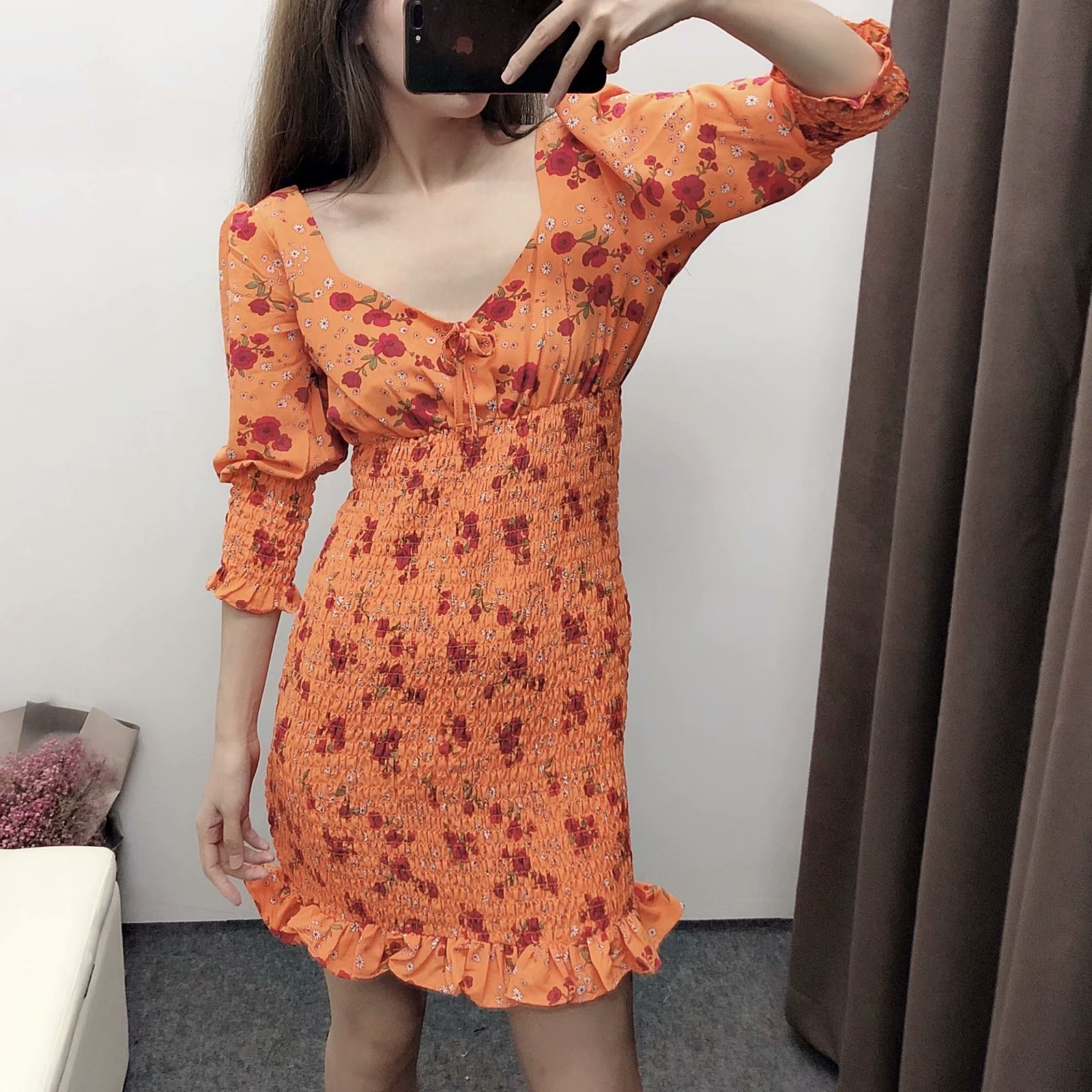 Wholesale spring new fashion printed pattern slim short dress NHAM209342