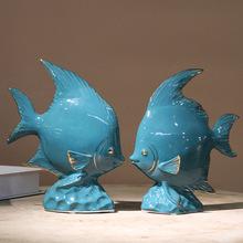 陶瓷鱼摆件墨绿色描金现代家居装饰品年年有鱼创意抽象工艺品摆设