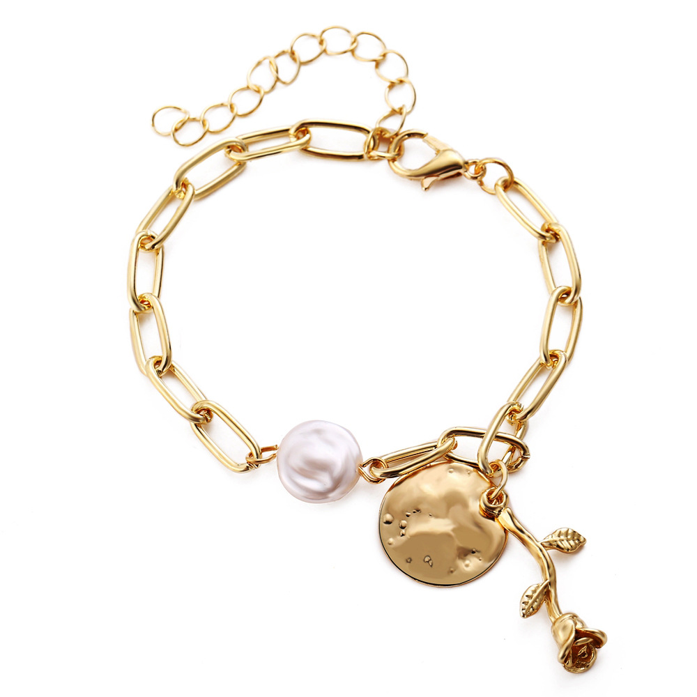 Creative Pearl Disc Rose Bracelet 2 Piece Set New Retro Alloy Metal Bracelet Set wholesale nihaojewelry NHYI237499