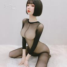 瑰若情趣內衣透視性感開襠緊身連體網衣絲襪全身黑絲誘惑襪8029