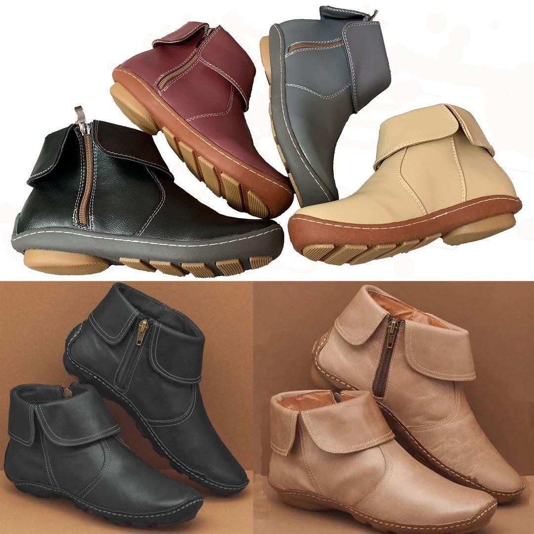 women Short boots 2020秋冬新款圆头薄绒女式pu马丁靴短靴女