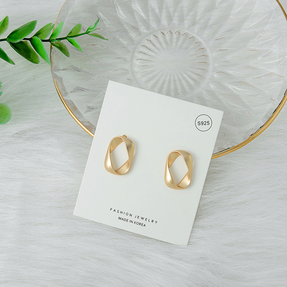 New S925 Silver Hollow Earrings Simple Fashion Alloy Matte Earrings NHQS194677