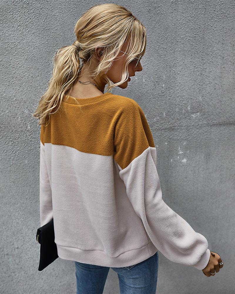simple color matching sweatershirt long-sleeved Top wholesale NSKA295