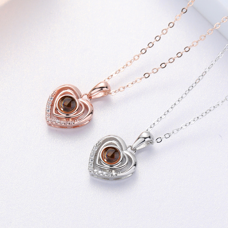 925 Sterling Silver 100 Languages I Love You Custom Projection Heart-shaped Necklace Love Love Memory Female Clavicle Chain Gift