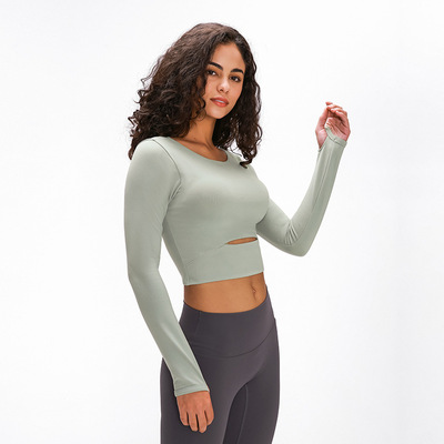 Seasonal sports with bra long sleeve T-shirt short outdoor running Yoga Top Women