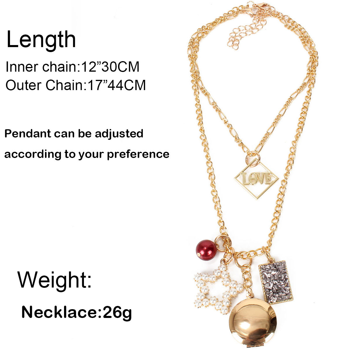 retro jewelry multilayer exaggerated personality imitation pearl alloy pendant necklace nihaojewelry wholesale NHCT215315