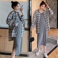 2020新款秋孕妇装纯棉吊带连衣裙+磨毛格子衬衣两件套套装女潮
