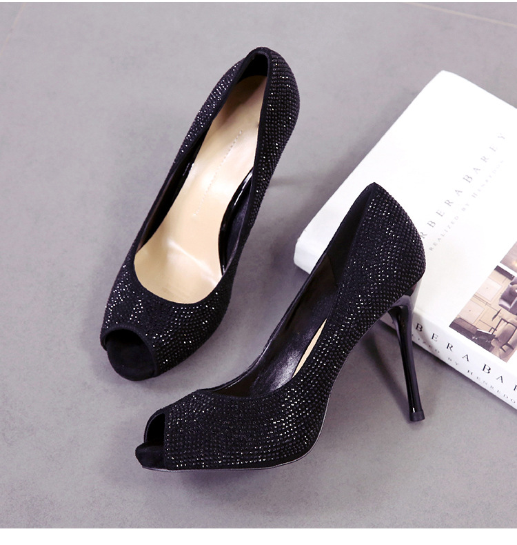 Spring and summer new shoes fish mouth rhinestone waterproof platform fine heel high heel women's shoes thick bottom temperament shoes NHSO200278