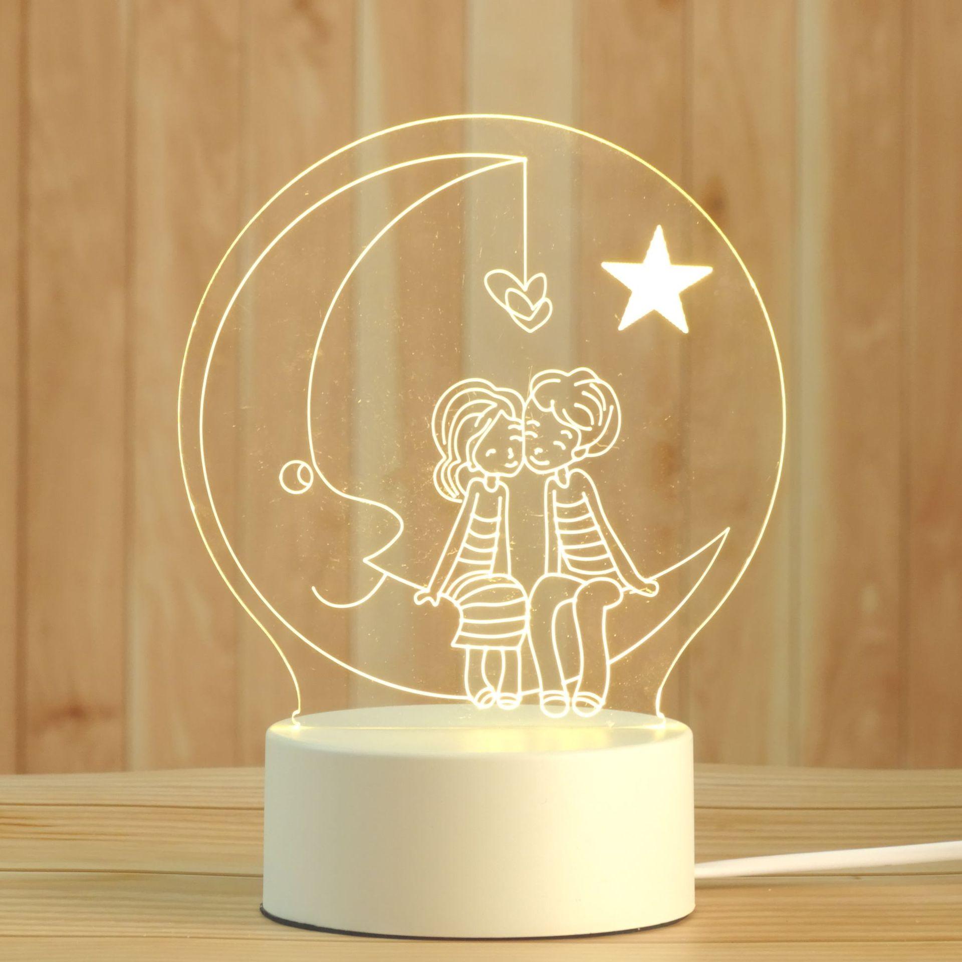 装饰小夜灯电子产品创意灯 新奇特家居led水母灯小朋友儿童生日