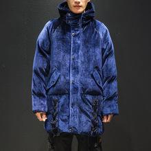 2020冬季新款男士中长款金丝绒加厚保暖大码休闲复古棉衣外套青年