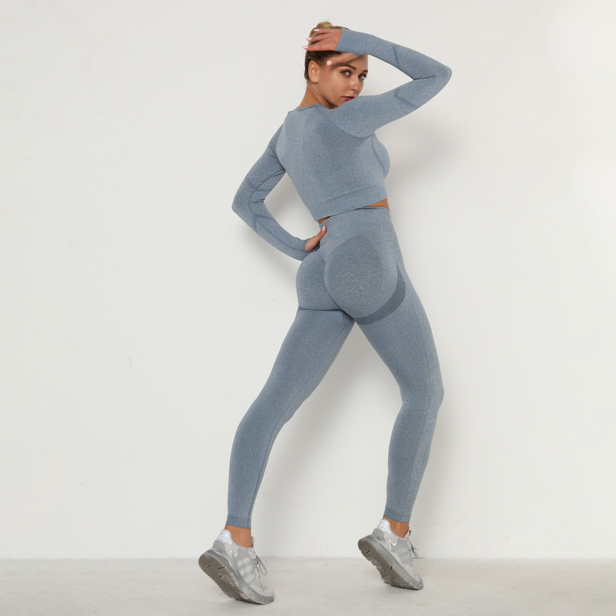 seamless fold high waist slim tight long sleeve yoga suit NSLX8985
