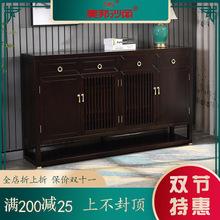 新中式全香樟木实木鞋柜黑檀色进门玄关储物客厅隔断四门收纳柜