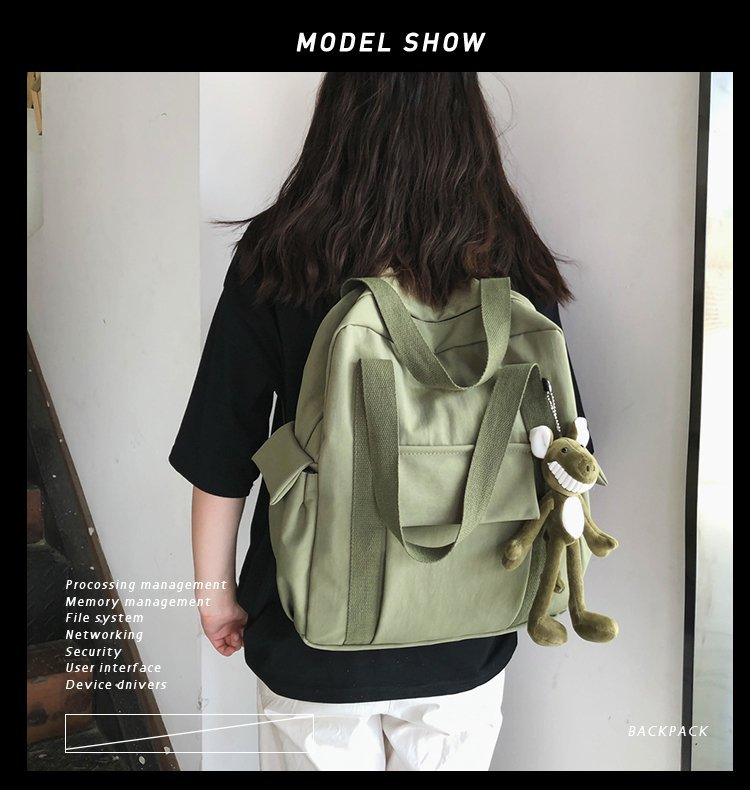 Korean fashion backpack retro multi-pocket wild student casual schoolbag  tooling wind couple backpack  wholesale nihaojewelry NHHX220861