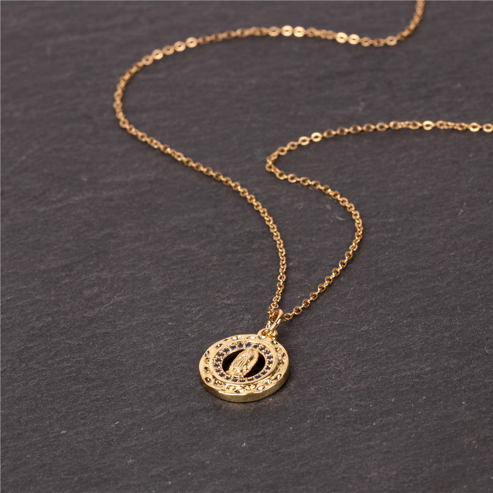 hot-selling  fashion simple new religious accessories micro-set zircon Virgin Mary geometric pendant short necklace nihaojewelry wholesale NHPY227175