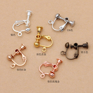 Guangzhou produced 4mm round head with circle spiral copper ear clip (03257) U-shaped ear bone without pierced earrings