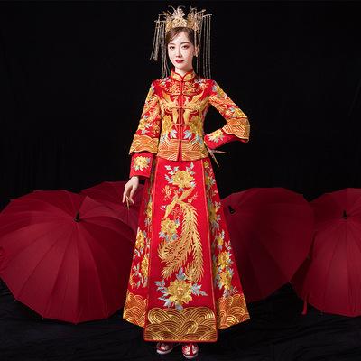 Bridal Chinese Wedding dress show photos shooting phoenix  wedding dressfor bride ancient qipao wedding dress