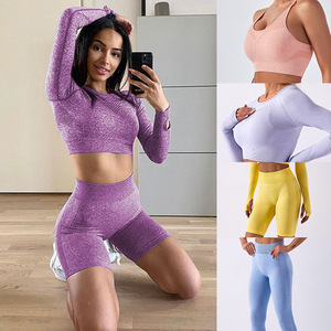 Women seamless Yoga suit fitness gyms exercises practice clothing long sleeve High Waist Shorts women's tops