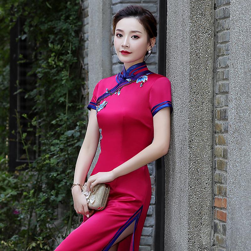 Cheongsam Chinese dresses qipao Chinese style elegant sexy middle-aged women mothers Western style cheongsam plus size