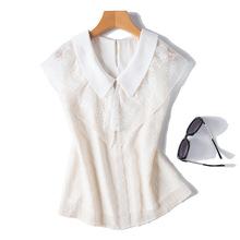 【高珂】夏季新款欧根纱拼接衬衫女 韩版无袖剪花上衣