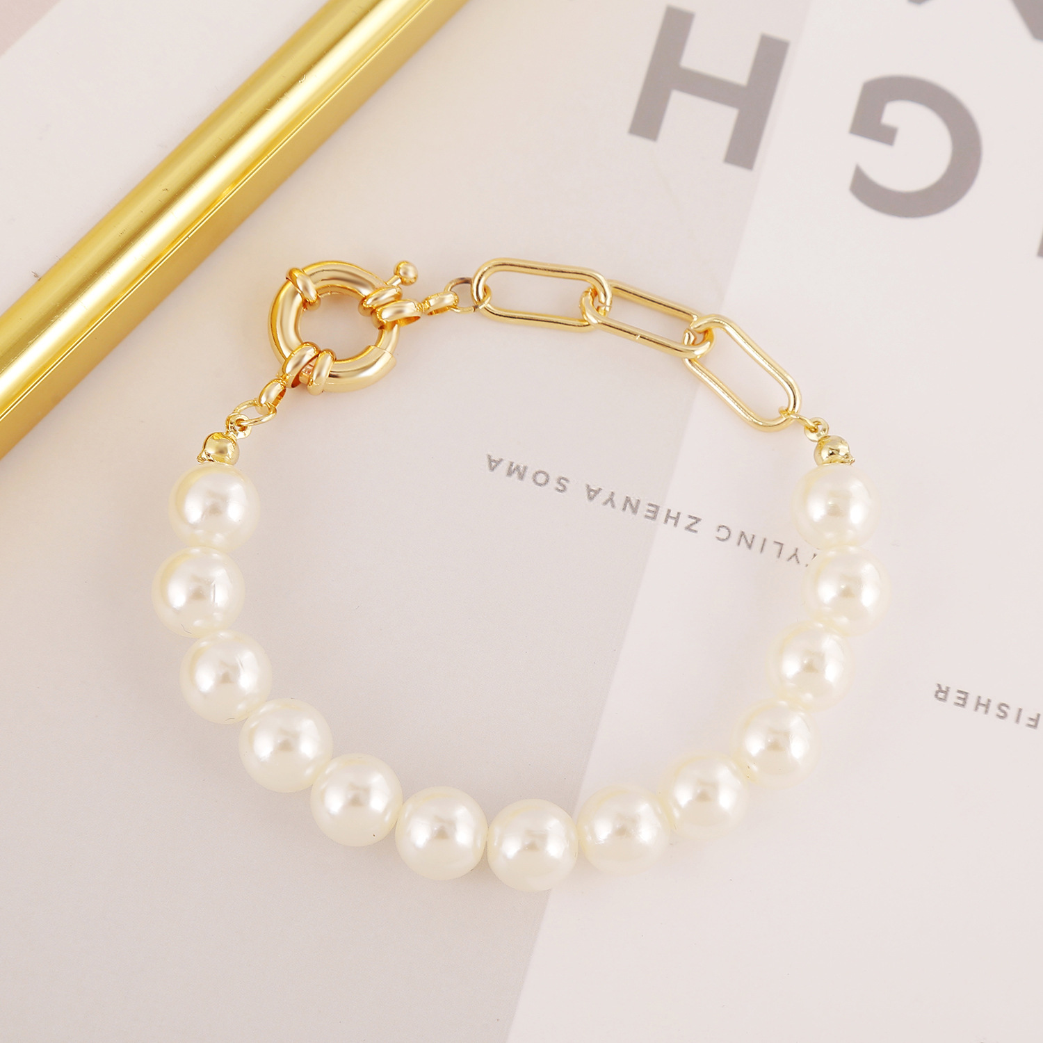 Handmade natural pearl baroque small pearl bracelet gold-plated simple retro significant temperament hand jewelry female wild NHJJ204713