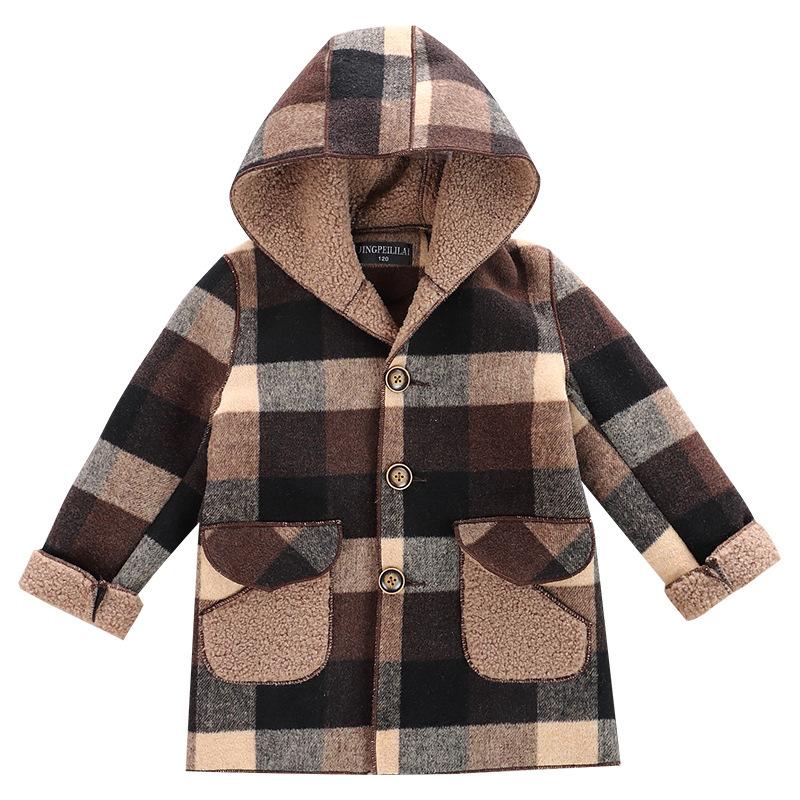 儿童外套秋冬男童呢子大衣小童冬装加绒加厚宝宝洋气毛呢中长款潮