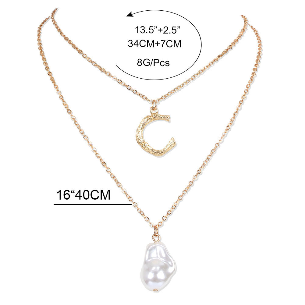 Fashion Gold Color Multilayer Necklace With Alloy Letter Shaped Imitation Pearl Pendant