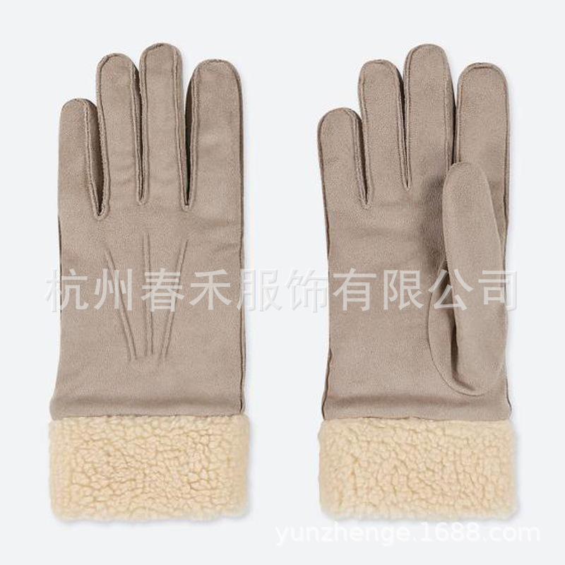 印花 保暖 手套指包皮绒摇粒绒