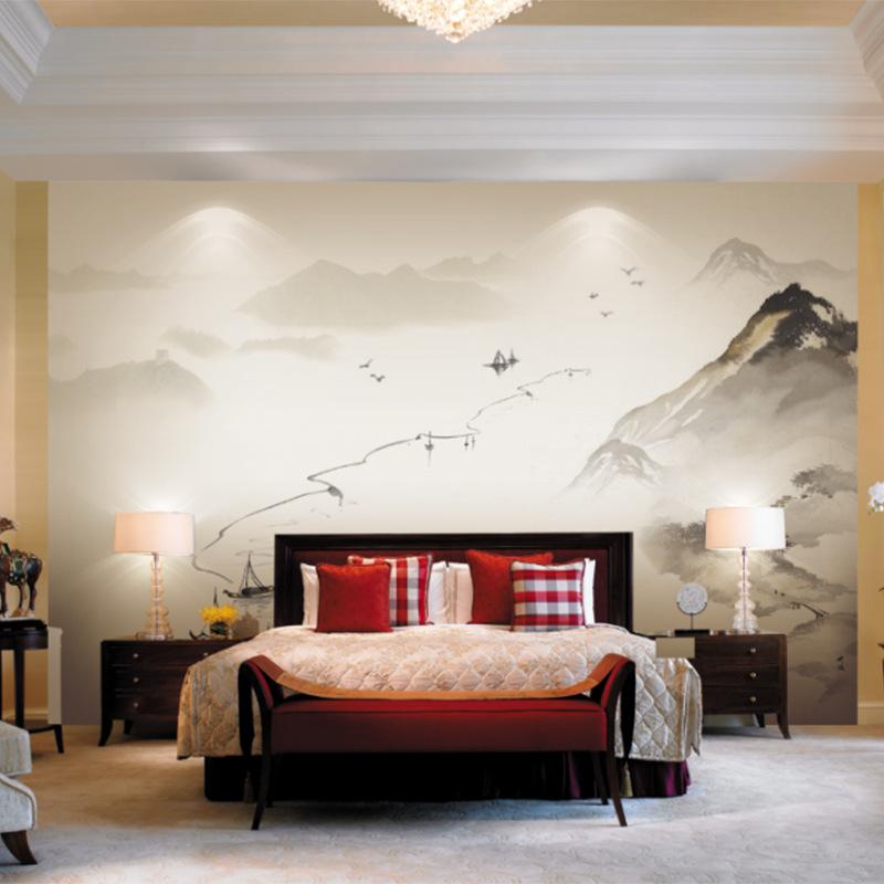 床頭墻電視背景墻壁紙 新中式客廳墻紙uv壁畫 定制宣絨布噴繪墻布
