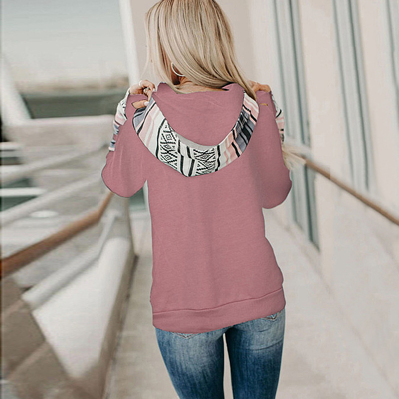 autumn and winter hot style women's printed stitching thickened all-match hooded sweater NSKX5791