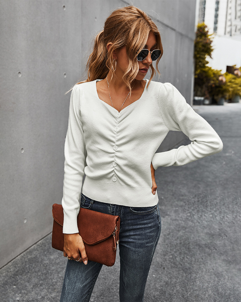 women's top autumn simple V-neck fashion pleated sweater women NSKA216