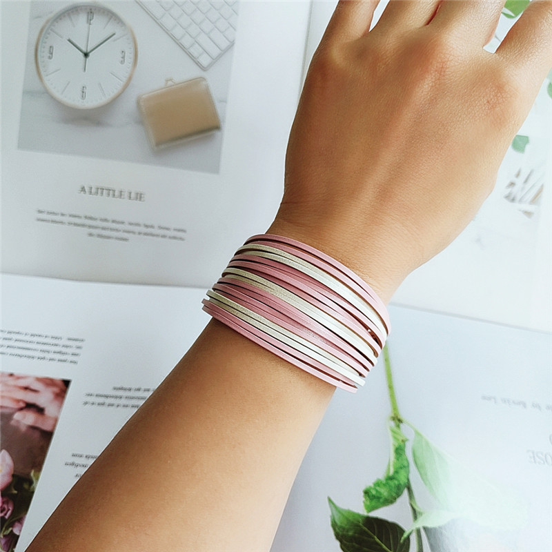Fashion PU leather rope bracelet Japanese and Korean simple hand rope woven multicolor personality bracelet  wholesale nihaojewelry NHVA221541