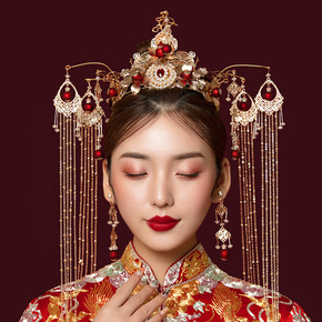 Chinese wedding Bridal headdress antique phoenix crown Chinese style Xiuhe clothing headdress wedding tassel step Xiuhe hair ornament