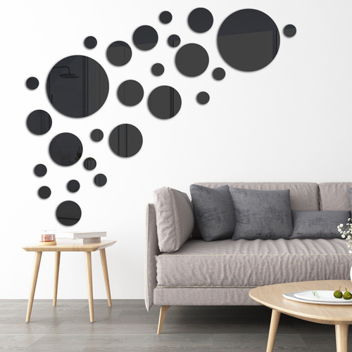J round crystal mirror wall sticker acrylic stereo wall sticker bedroom living room decoration sale
