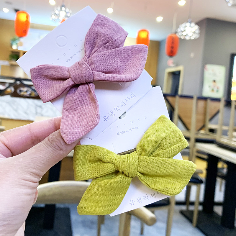 Children's solid color bow hair clip bangs clip cotton fabric bow hair clip NHSA201156