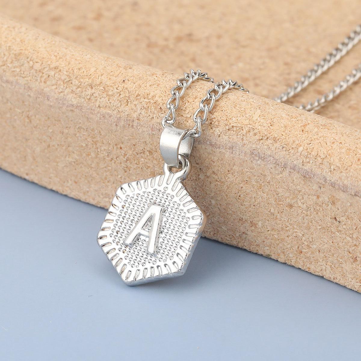 fashion simple alloy letter A pendant two-piece necklace NHJE275637
