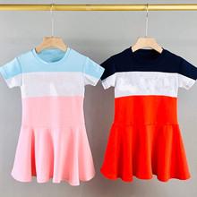 52301 兒童愛心拼接撞色連衣裙女童款磚柜同步外貿原單一件代發