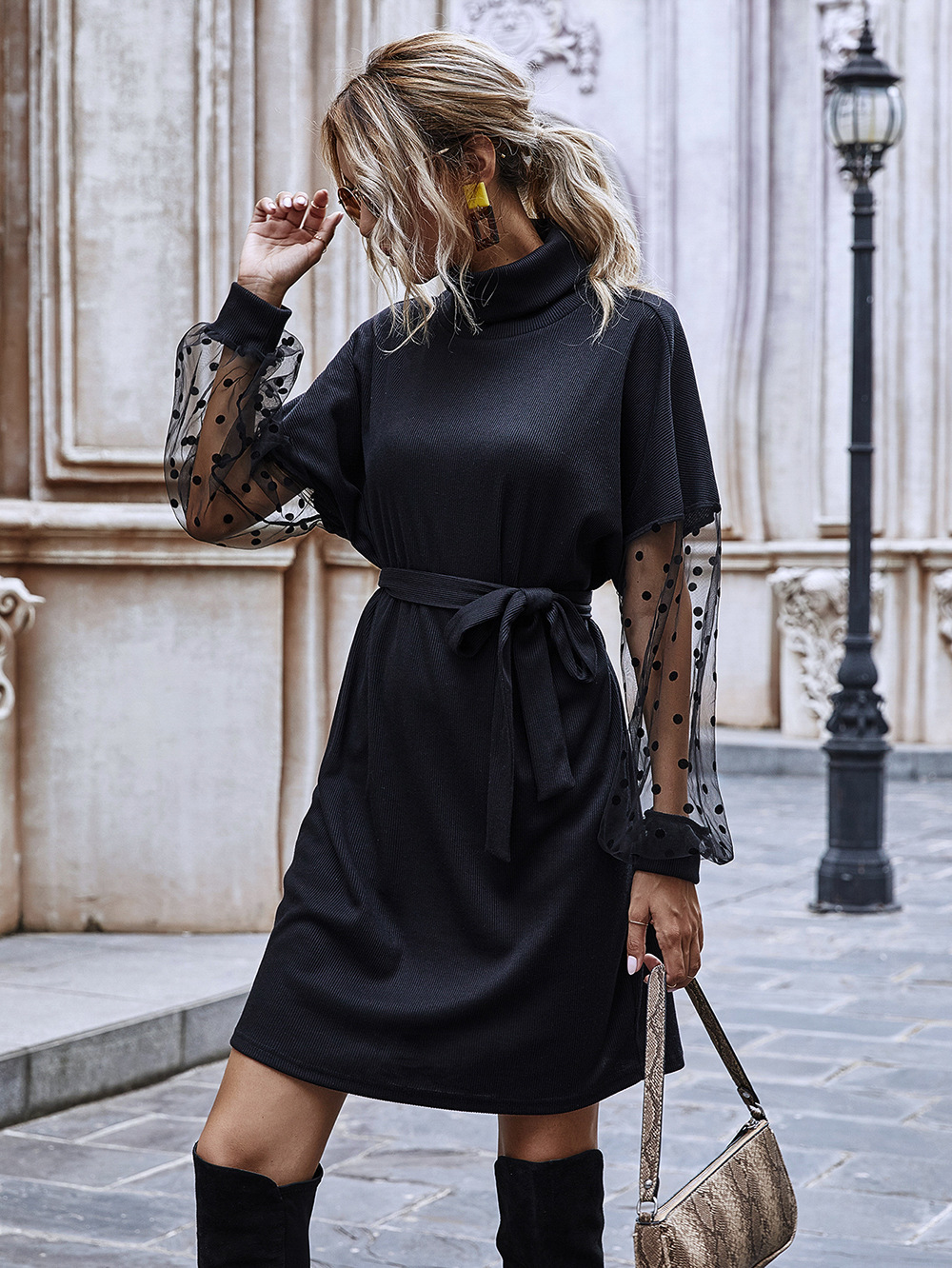 autumn women's solid color stitching mid-length dresss long-sleeved polka dot wholesale NHDF27