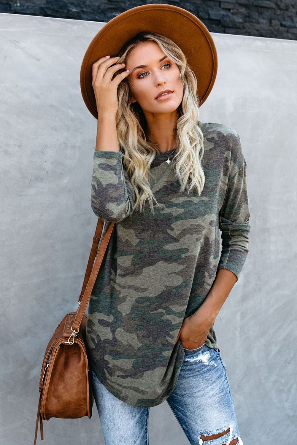 Autumn New Camouflage Turtleneck Long Sleeve Casual Large Size Women's T-shirt NSSI2489