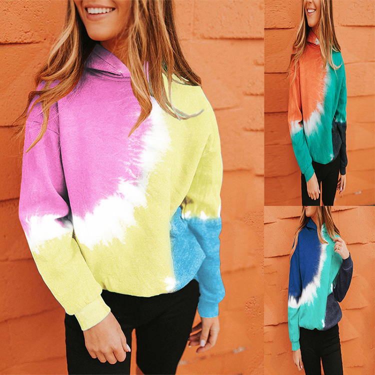 autumn and winter new tie-dye printed color-blocking hoodie long-sleeved sweater  NSYF844
