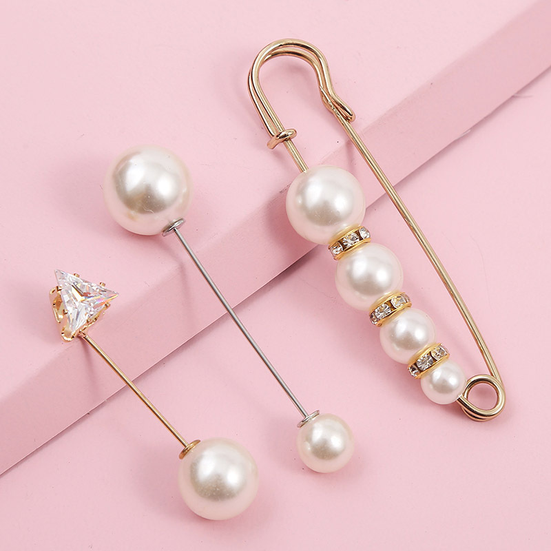 simple long rhinestone pearl suit brooch female creative trend anti-fade cuff pin NHLA253505