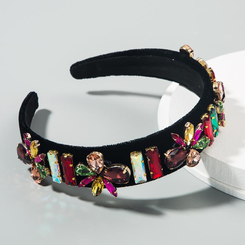 Baroque new highgrade flannel colorful rhinestone super flash hair hoop fashion trendy catwalk headband wholesale NHLN216122